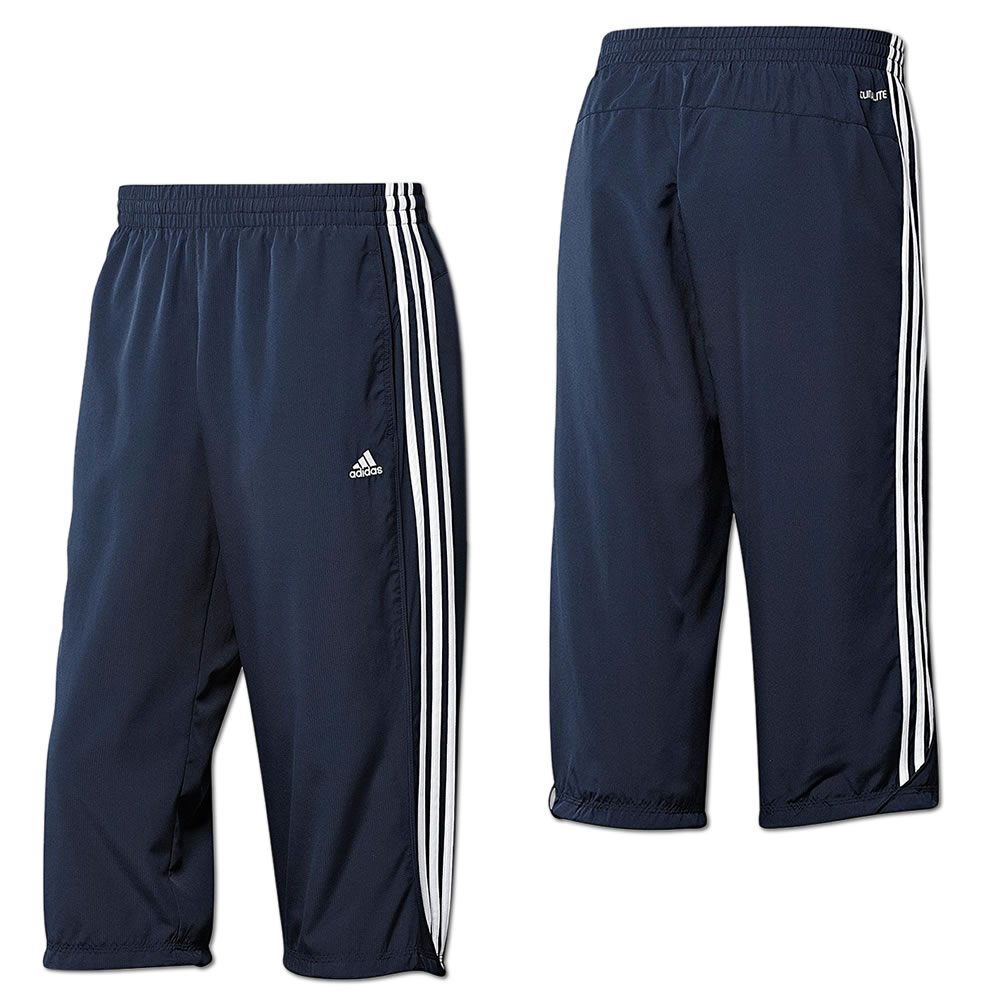 adidas herren essentials 3 streifen 3 4 hose freizeithose sporthose blau grau ebay. Black Bedroom Furniture Sets. Home Design Ideas